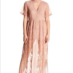 Socialite Nude/Rose Lace Maxi Dress